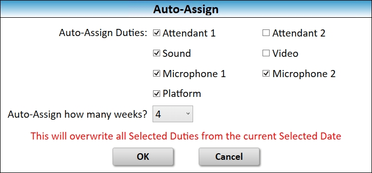 JW Scheduler Auto Assign Attendant Sound Platform Microphones Duties