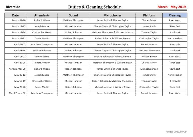 JW Scheduler Duties and Cleaning Scheduler