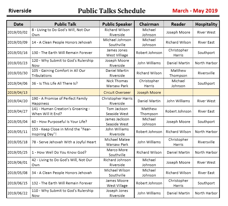 JW Scheduler Public Talks Schedule