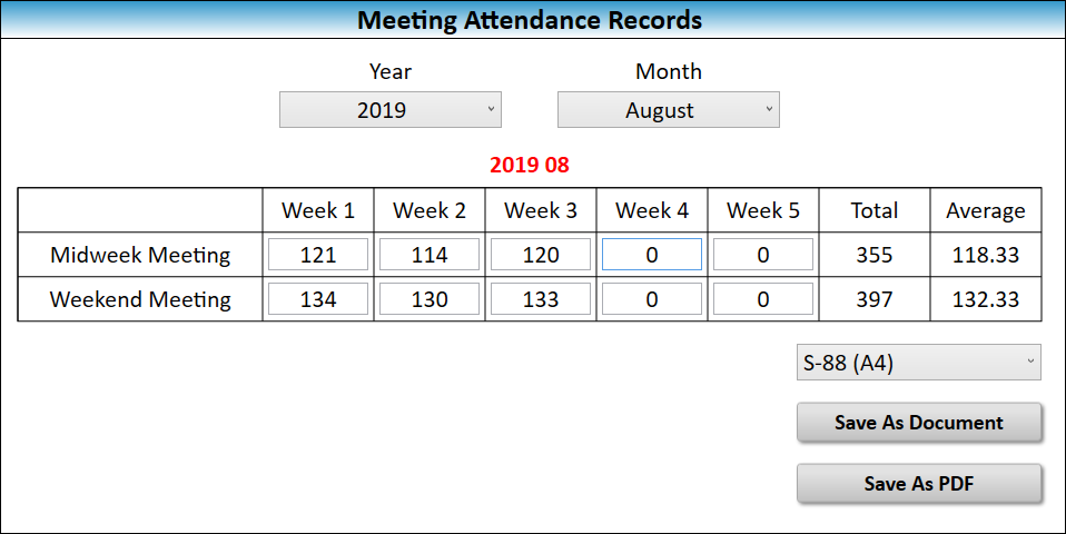 JW Scheduler Congregation Meeting Attendance Records