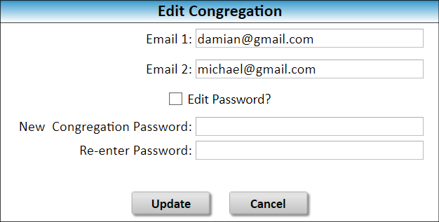 JW Scheduler Congregation Sharing Edit Password and Recovery Email Addresses