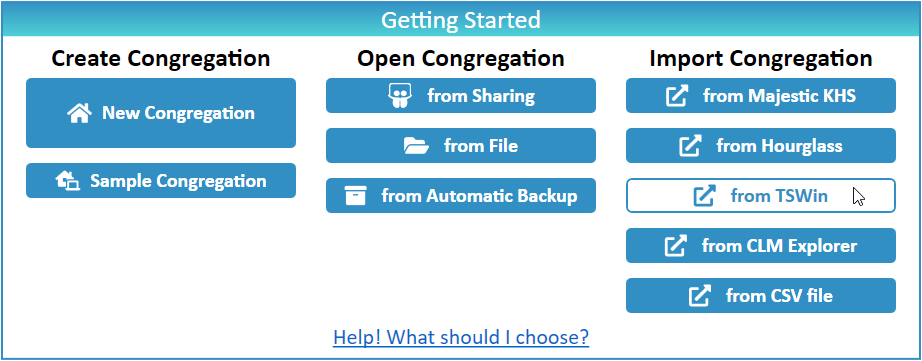 JW Scheduler Import Congregation from TSWin