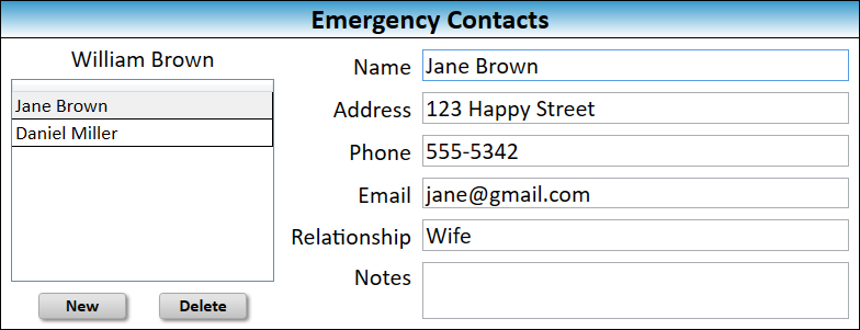 JW Scheduler Members Emergency Contacts