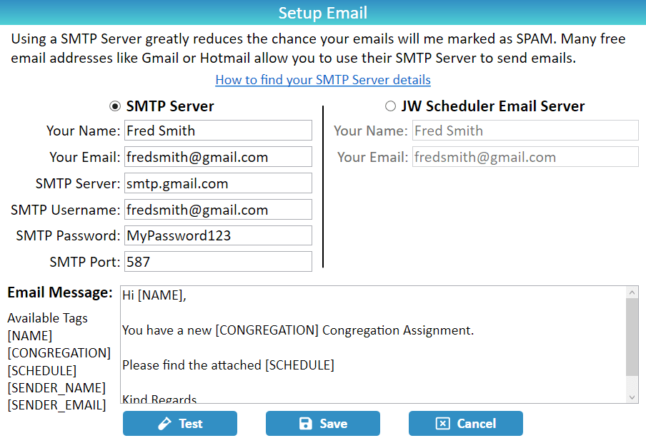 JW Scheduler Printing and Report Emailing Setup Email