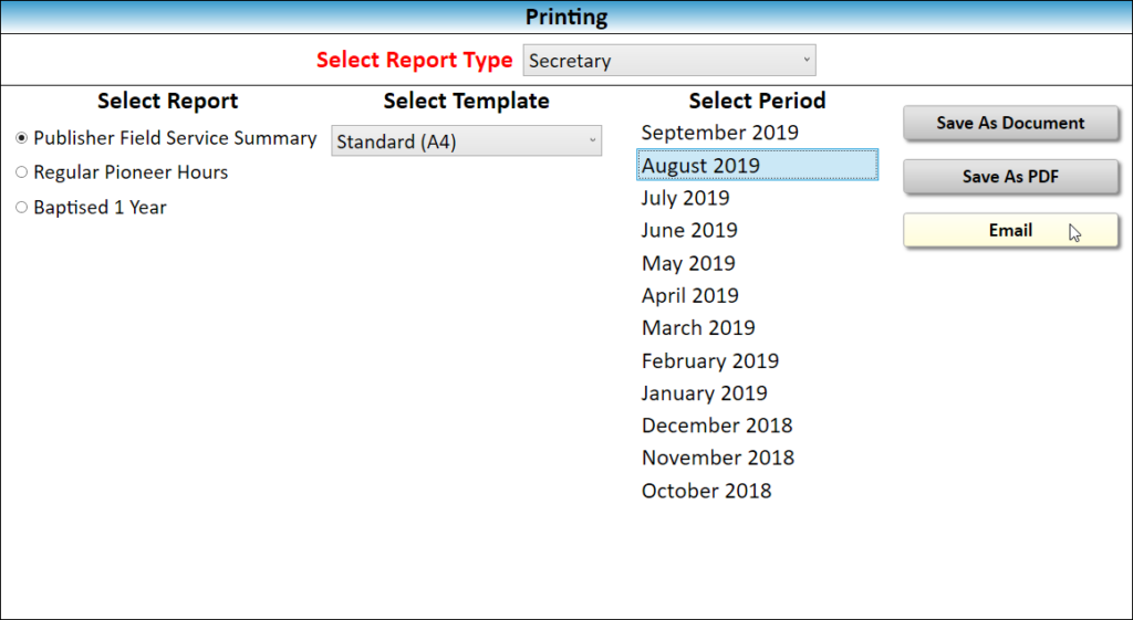 JW Scheduler Printing and Reports Email Publisher Field Service Summary