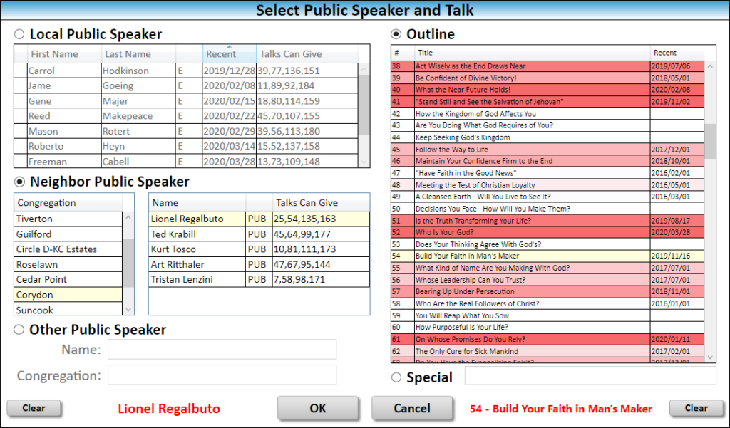 JW Scheduler Schedule Public Talks Locally Select Member and Outline