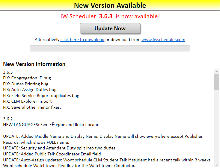 JW Scheduler Updates New Version Available