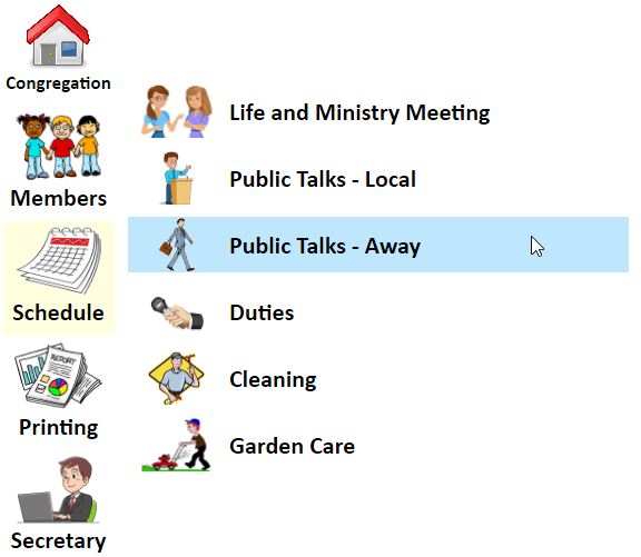 JW Scheduler Schedule Public Talks Away Menu
