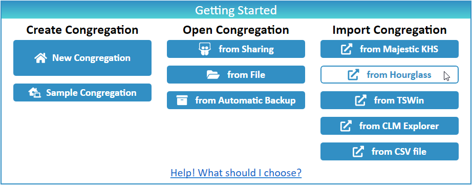 JW Scheduler Import Congregation from Hourglass App