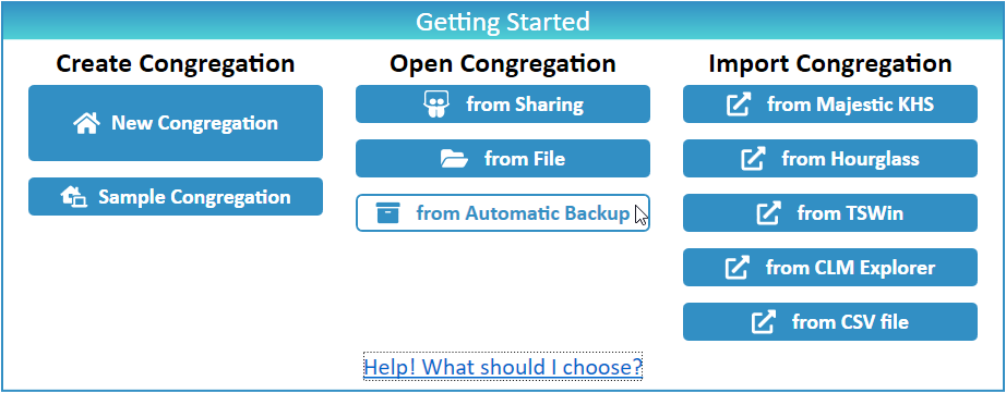 JW Scheduler Open Congregation from Automatic Backup